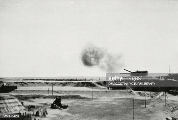 Italian Navy highcalibre guns firing on the Karst region Slovenia World War I from L'Illustrazione Italiana Year XLIV No 36 September 9 1917