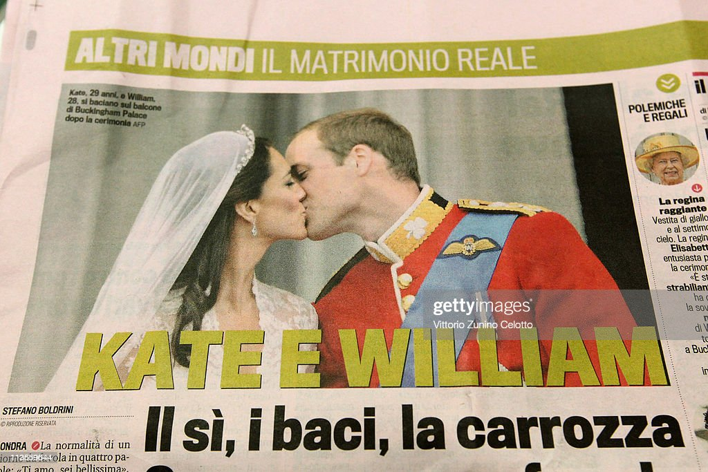 Italian newspaper La Gazzetta dello Sport reports the marriage of their Royal Highnesses Prince William, Duke of Cambridge and Catherine, Duchess of Cambridge following their wedding day on May 03, 2011 in Milan, Italy. The marriage of the second in line to the British throne was led by the Archbishop of Canterbury and was attended by 1900 guests, including foreign Royal family members and heads of state. Thousands of well-wishers from around the world flocked to London to witness the spectacle and pageantry of the Royal Wedding.