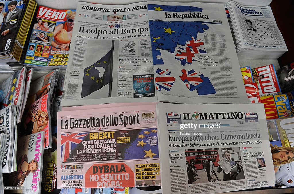 Italian newspapers declaring about Brexit and UK leaving the European Union are displayed on June 25, 2016 in the town of Nola near Naples, Italy. The results from the historic EU referendum has been declared and the United Kingdom has voted to leave the European Union.