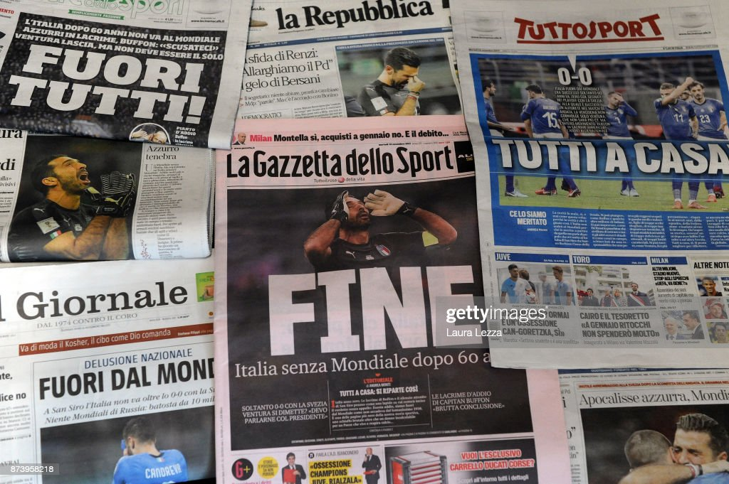 Italian newspapers show Italy soccer team defeat on their front pages the day after Italy failed to qualify for the World Cup 2018 on November 14, 2017 in Livorno, Italy. For the first time since 1958 Italy will not participate in the next World Cup in Russia, having been beaten by Sweden during the European qualifiers. The captain of the national team and goalkeeper Gianluigi Buffon between the tears came out saying that this defeat is also a social failure for Italy. There are many accusations and demands for resignations in Italy against all vertices of the Federation and the coach.