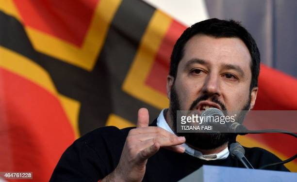 Italian Northern League party leader Matteo Salvini speaks during a rally against the Italian government's policy in Rome on February 28 2015 AFP...