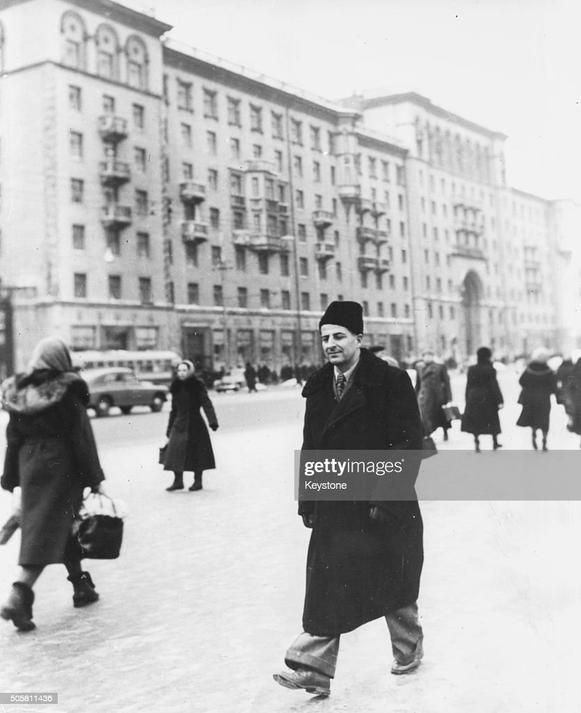 Italian nuclear physicist Bruno Pontecorvo wearing winter clothing as he walks through the streets of Moscow following his defection to Russia Maech...