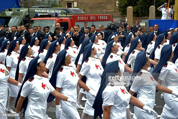 Italian nurses march as they attend a military parade during the celebrations of the Italian Republic Day in Rome Italy 02 June 2016