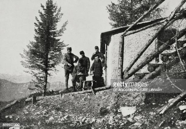 Italian observatory at high altitude during the Battle of the Plateaux Italy World War I from L'Illustrazione Italiana Year XLIII 29 July 1916