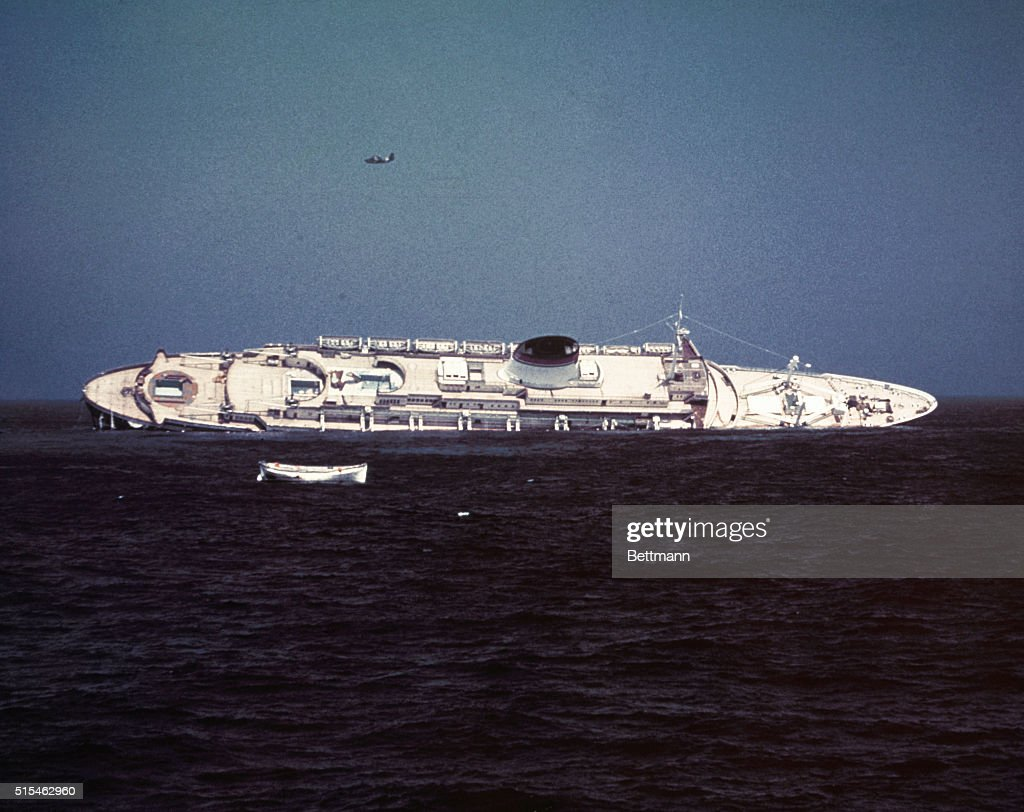 Italian ocean liner Andrea Doria sinking after a collision with the Swedish ocean liner Stockholm off Cape Cod