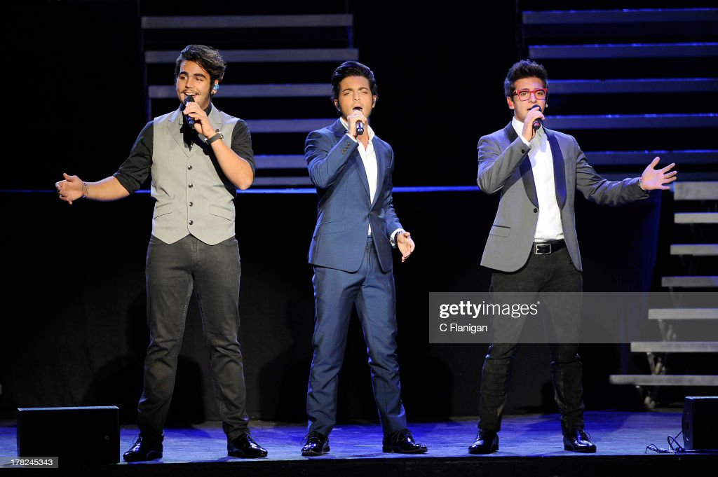 Italian operatic pop singers Ignazio Boschetto Gianluca Ginoble and Piero Barone of Il Volo perform at Sleep Train Amphitheatre on August 27 2013 in...