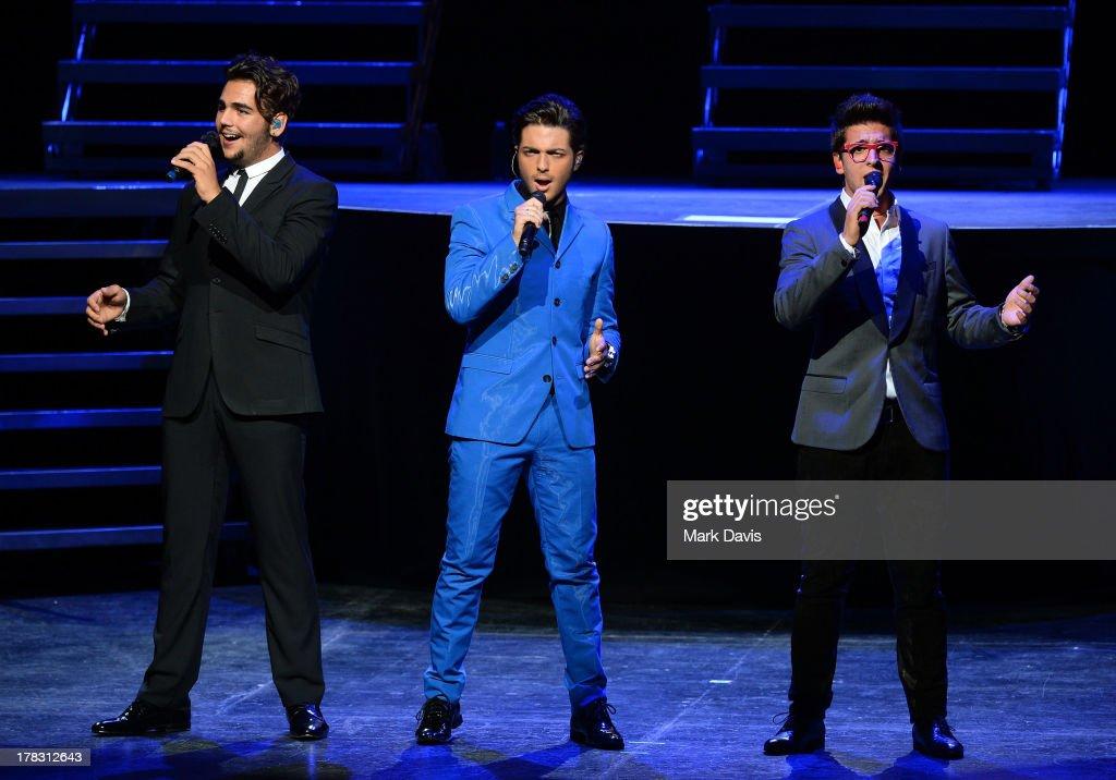 Italian operatic pop singers Piero Barone Gianluca Ginoble and Ignazio Boschetto of Il Volo perform at Gibson Amphitheatre on August 28 2013 in...