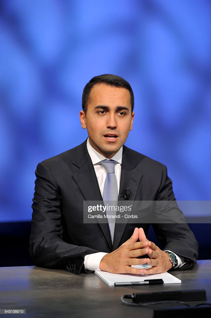 Italian Parliament and Five Star Movement member Luigi Di Maio TV Interview on June 19, 2016 in Rome, Italy.