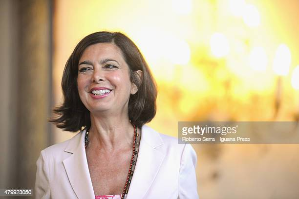 Italian Parliament Laura Boldrini attends the ceremony where Bangladeshi economist Muhammad Yunus Nobel Prize in 2006 for Peace receives the honorary...