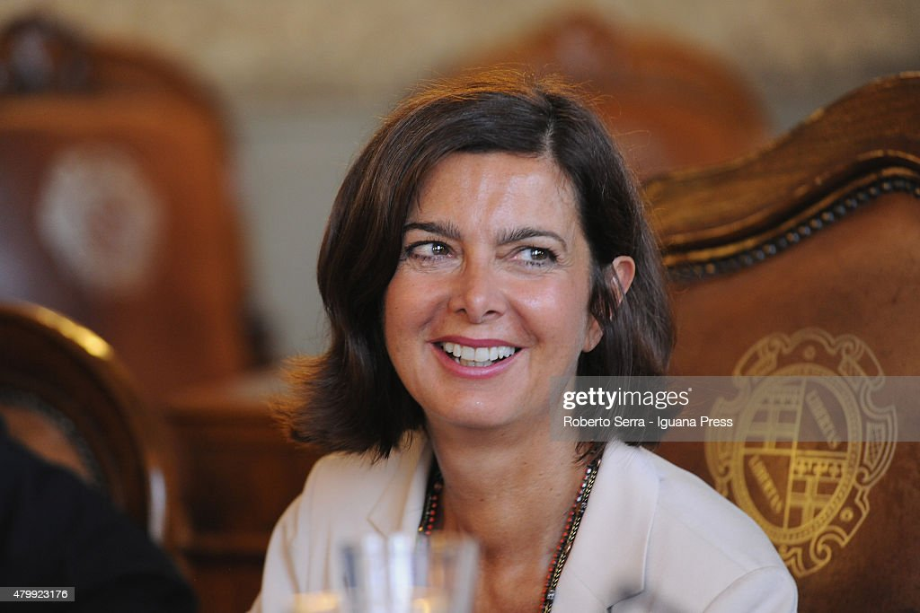 Italian Parliament <a gi-track='captionPersonalityLinkClicked' href=/galleries/search?phrase=Laura+Boldrini&family=editorial&specificpeople=4364882 ng-click='$event.stopPropagation()'>Laura Boldrini</a> attends the ceremony where Bangladeshi economist Muhammad Yunus Nobel Prize in 2006 for Peace receives the honorary cityzenship of Bologna at Bologna's City Hall on July 8, 2015 in Bologna, Italy.