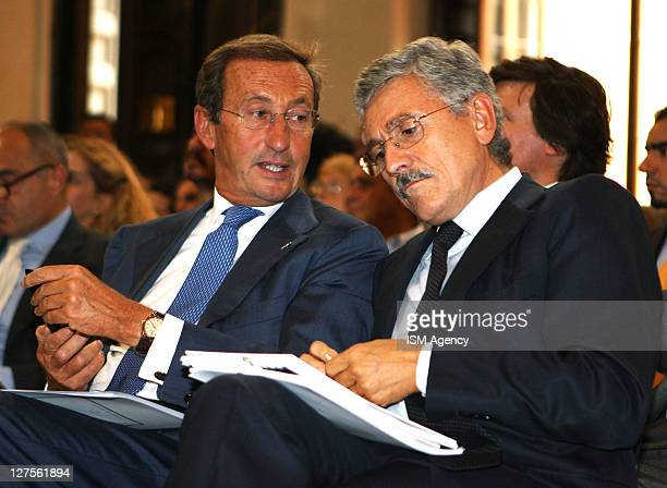 Italian Parliament Speaker Gianfranco Fini and Democatric Party Member Massimo D'Alema attend a meeting on integration of the Islamic youth in Italy...