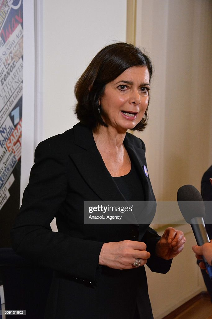 Italian parliament speaker Laura Boldrini delivers a speech during a press conference due to demand the denial for the Mini Schengen process in Rome, Italy on February 9, 2016.