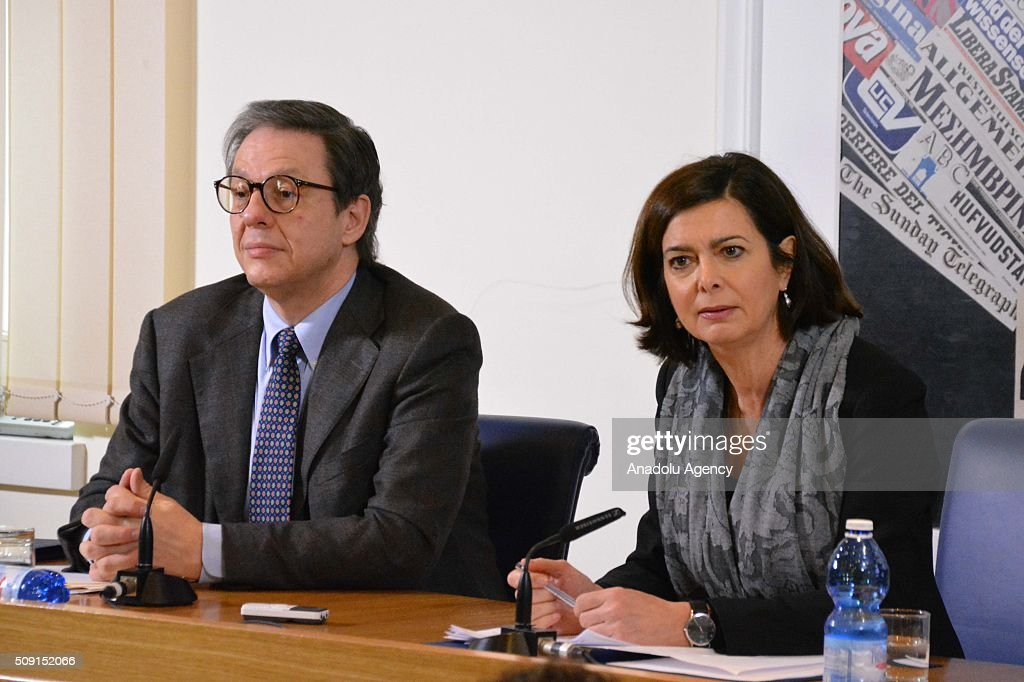 Italian parliament speaker Laura Boldrini (R) delivers a speech during a press conference due to demand the denial for the Mini Schengen process in Rome, Italy on February 9, 2016.