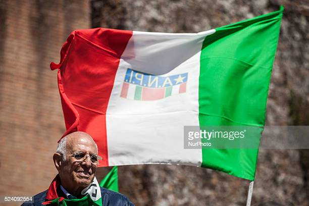 Italian partisans attend a rally to celebrate the anniversary of the liberation day in Rome Italy on April 25 2016 Italy's Liberation Day is a...