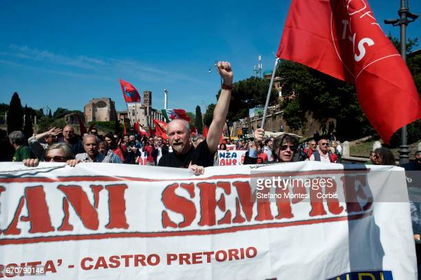 Italian partisans attend a rally to celebrate the anniversary of the liberation day in Rome Italy's Liberation Day is a national Italian holiday...