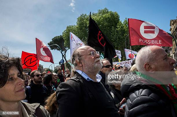 Italian Partisans celebrate the Italy's liberation day in Rome on April 25 2016 The demonstration is organized by ANPI to remind the 71th anniversary...