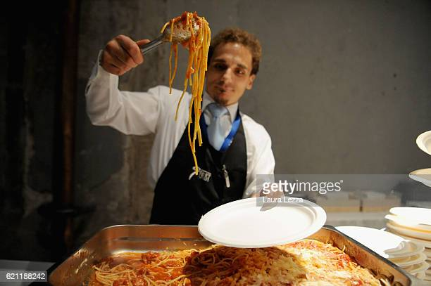 Italian Pasta all'Amatriciana in support of earthquake victims is served after the meeting of the Leopolda 2016 on November 4 2016 in Florence Italy...