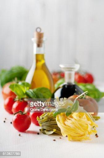 Italian pasta, tomato, basil, oil and vinegar