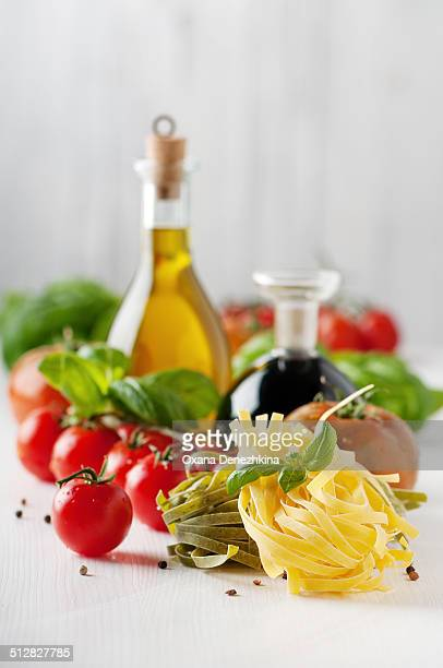 Italian pasta, tomato, basil, oil and vinegar