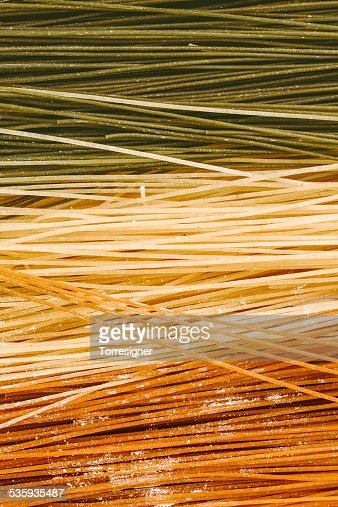 Italian Pasta with the Italian Flag Colors : Stock Photo