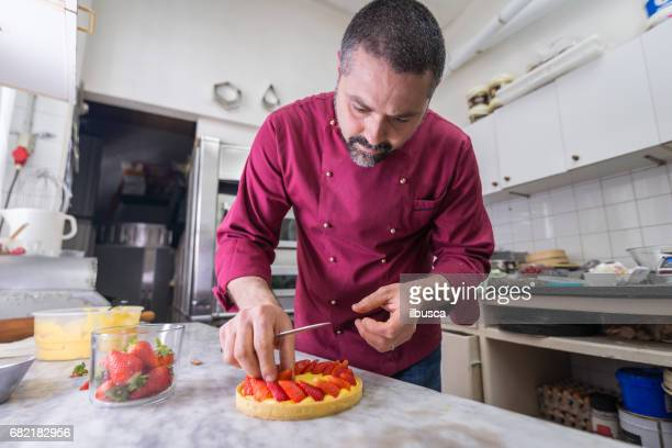 Italian pastry making patisserie baking confectioner: Decorating fruit cake