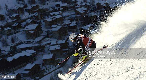 Italian Patrick Thaler clears a gate during the second run of the men's slalom at the FIS Ski World Cup on December 15 2013 in Val d'Isere French...