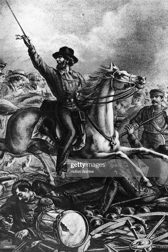 Italian patriot and a leader of the Risorgimento, Giuseppe Garibaldi (1807 - 1882) fighting and capturing French guns in Rome.