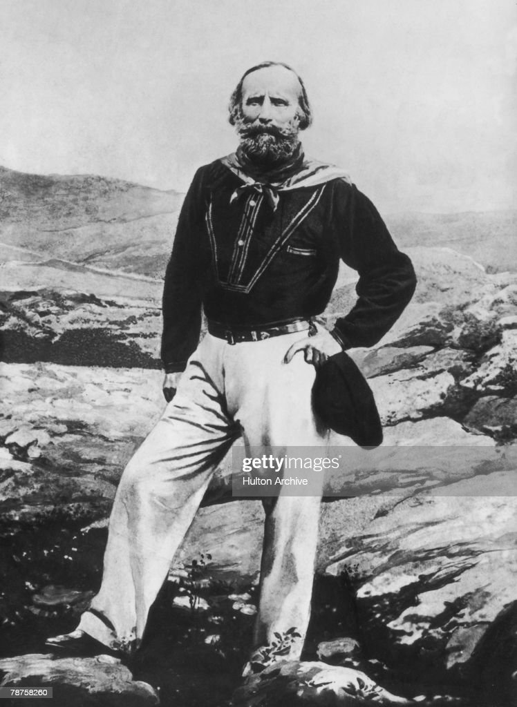 Italian patriot Giuseppe Garibaldi (1807- 1882) standing on rocky terrain on the island of Caprera, 1865. He owned the island, spent much of his old age on it, and eventually died there.