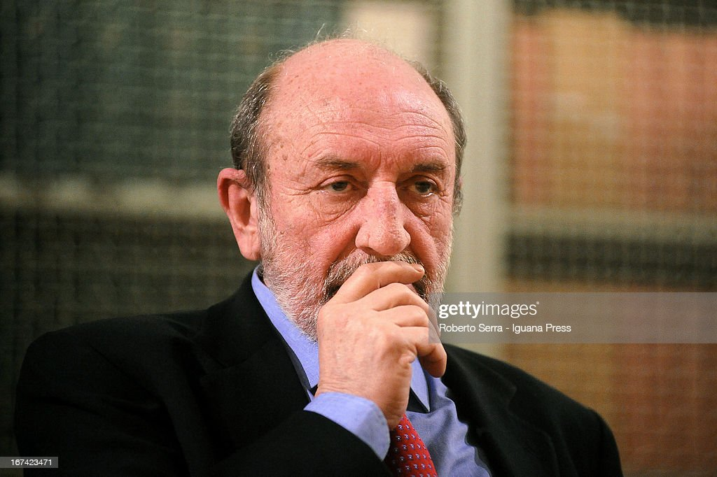 Italian philosopher Umberto Galimberti holds a conference about 'Care of the Soul' with Father Enzo Bianchi prior of the Bose's Cummunity at on April 23, 2013 in Bologna, Italy.