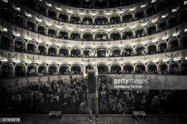 'Italian pianist composer conductor and musician Giovanni Allevi at Ferrara opera house in a date of the Alien World Tour Ferrara Italy 22nd April...
