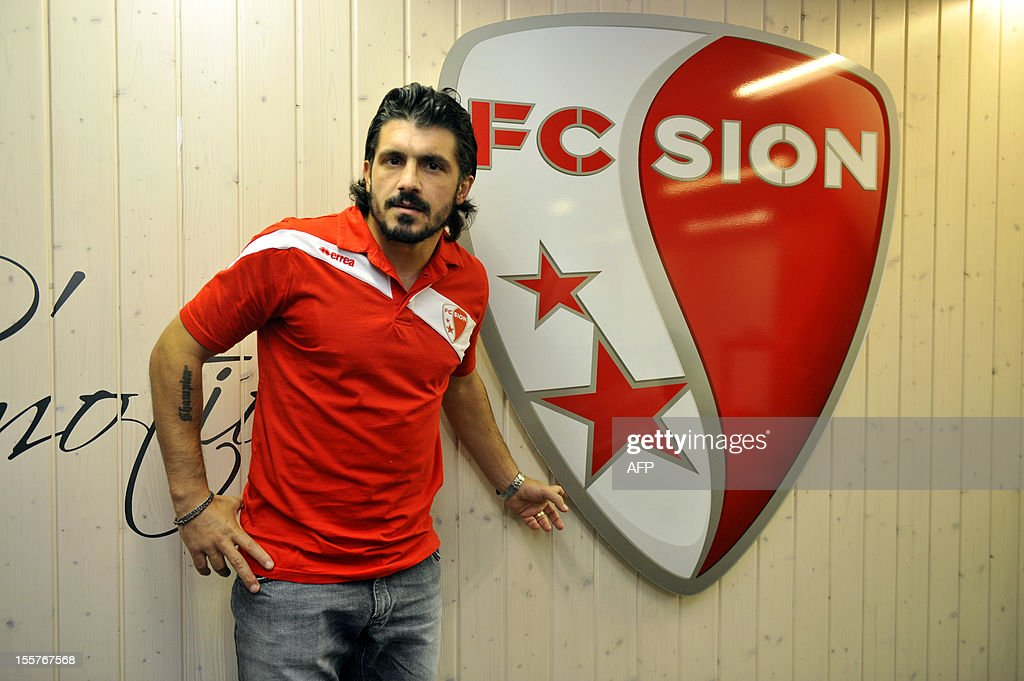 Italian player and captain of the Swiss football club FC Sion Gennaro Gattuso poses during a press conference on November 8, 2012 in Sion.