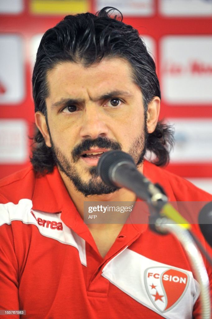 Italian player and captain of the Swiss football club FC Sion Gennaro Gattuso speaks during a press conference on November 8, 2012 in Sion.