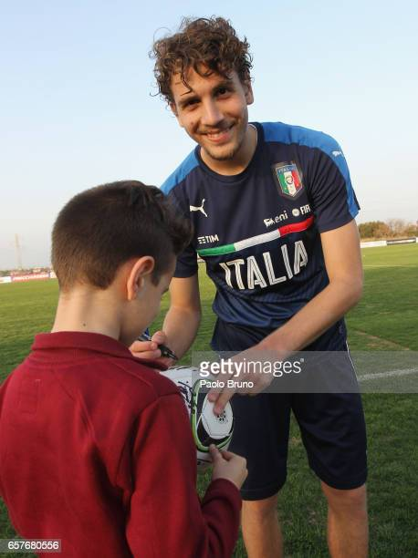 Italian player Manuel Locatelli signing autograph during the Italy U21 autograph session on March 25 2017 in Rome Italy