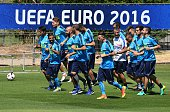 Italian players attend a training session at their training ground in Montpellier on June 28 2016 during the Euro 2016 football tournament / AFP /...