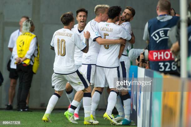 Italian players celebrate after Domenico Berardi score during the UEFA European Under21 Championship 2017 Group C between Czech Republic and Italy at...