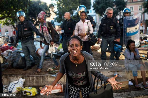 Italian police evicted Eritrean refugees that occupying the square in Piazza Indipendenza in Rome Italy on August 24 2017 About 100 people had...