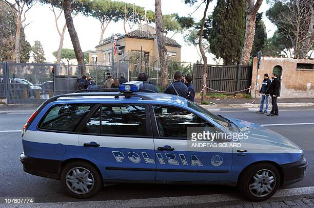 Italian police members stand in front of the main entrance of the US embassy to the Vatican on December 29 2010 in Rome after a suspect package has...