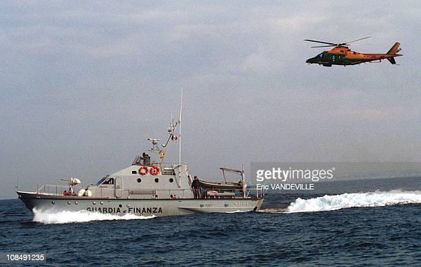 Italian police patrol off the coast of Apulia in Apulia Italy on April 18th 2000