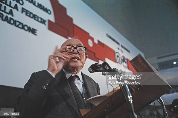 Italian politician and deputy Prime Minister Pietro Nenni speaks at a party conference in Italy in 1968