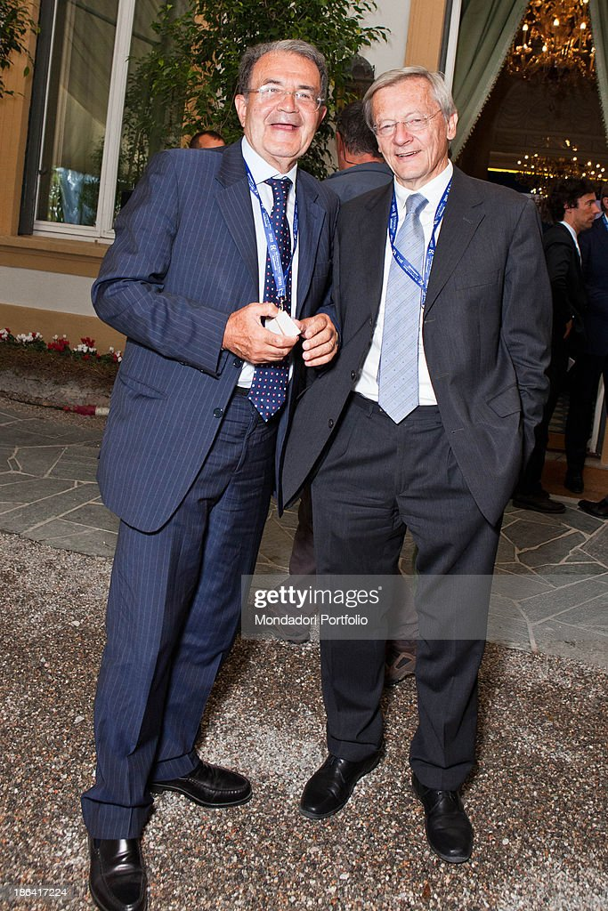 Italian politician and economist <a gi-track='captionPersonalityLinkClicked' href=/galleries/search?phrase=Romano+Prodi&family=editorial&specificpeople=203301 ng-click='$event.stopPropagation()'>Romano Prodi</a> and Austrian politician Wolfgang Schussel smiling during the annual economic forum Intelligence on the world, Europe and Italy organized by The European House Ambrosetti at Villa d'Este. Cernobbio, 10th September 2012.
