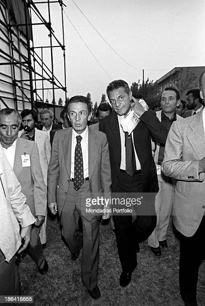 Italian politician and General Secretary of the Italian Communist Party Enrico Berlinguer and Italian politician and union organizer Antonio Tatò...
