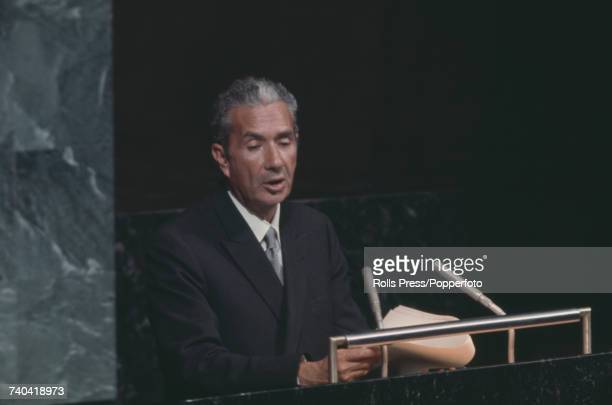 Italian politician and Minister of Foreign Affairs Aldo Moro addresses the United Nations Assembly Hall in New York in 1971
