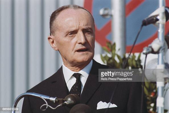Italian politician and Secretary General of NATO Manlio Brosio pictured speaking from a lectern in Paris in 1968 during a period of negotiations at...