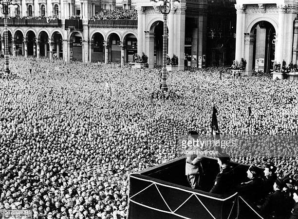 Italian politician Benito Mussolini making a speech at the square of the Milan Cathedral Italy circa 1930