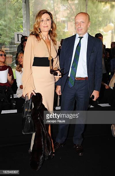 Italian politician Daniela Santanche and Alessandro Sallusti attend the Simonetta Ravizza Spring/Summer 2013 fashion show as part of Milan Womenswear...