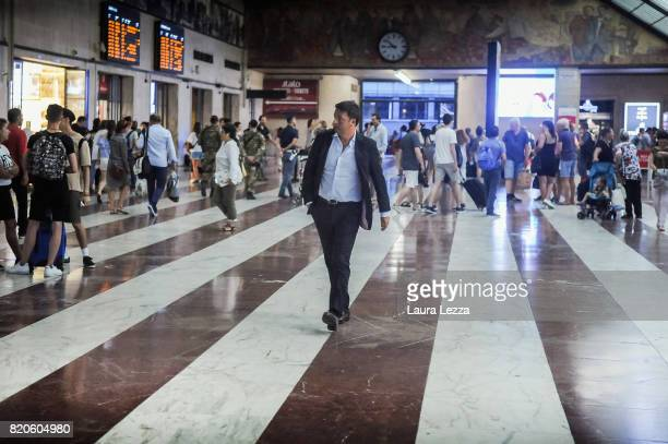Italian politician Matteo Renzi Secretary of the Democratic Party arrives at Santa Maria Novella train station before attending the presentation of...