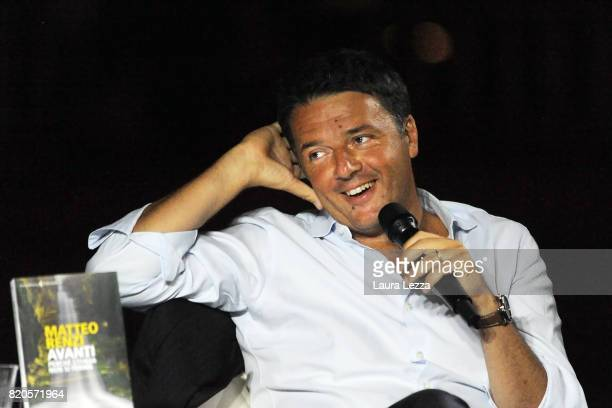 Italian politician Matteo Renzi Secretary of the Democratic Party attends the presentation of his new book 'Avanti' at Piazzale Michelangelo on July...