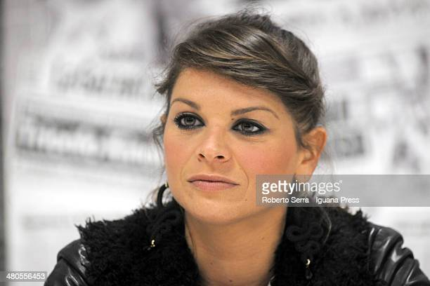 Italian pop singer Alessandra Amoroso holds a press conference at Unipol Arena on March 18 2014 in Bologna Italy