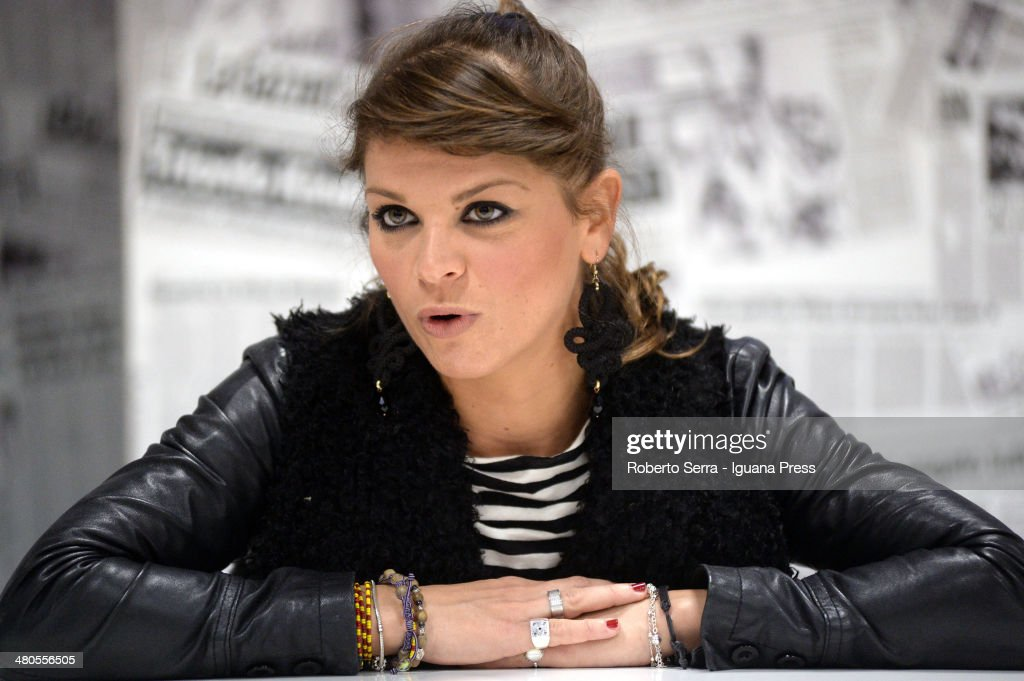Italian pop singer Alessandra Amoroso holds a press conference at Unipol Arena on March 18, 2014 in Bologna, Italy.