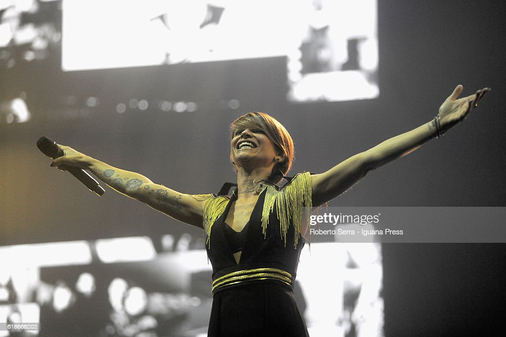 Italian pop singer Alessandra Amoroso performs his concert 'Vivere a Colori' at Unipol Arena on October 27, 2016 in Bologna, Italy.